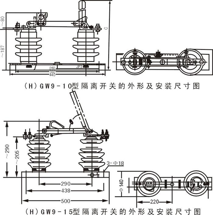 列户外高压隔离开关是三相交流50HZ户外高压电器,供有电压无负荷时分合电路之用。   (H)GW9系列户外高压隔离开关按外绝缘能力分为普通型和耐污型两种,均可附装接地开关,接地开关分单接地、双接地两种,接地开关按承受短路电流的电动力作用的热效应能力又分为型和型。